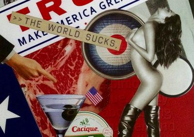 "Luis Alves: Collage ""The World Sucks"" hand made collage"