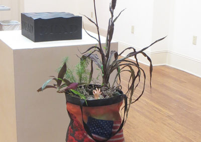 "Paula Fastone ""Swamp Tote"" soil, sand, Sculpy, paint, plants, tote bag"