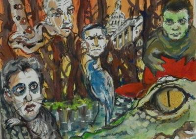 "Steven Epstein ""Swamp Denizens"" gouache, pencil and marker on paper"