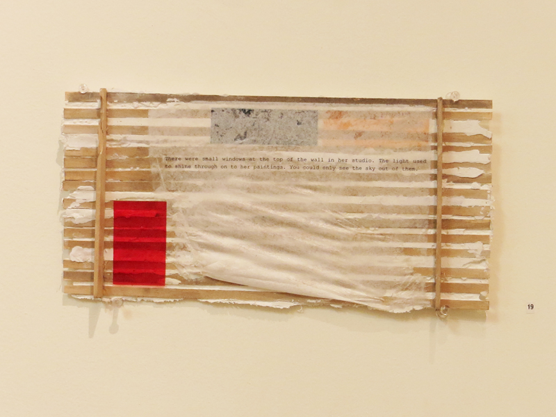 """""""142 Emwood Dr. (Studio)""""   acrylic, acetate, paper, and plaster on wood, 6"""" x 12"""" $240.00"""