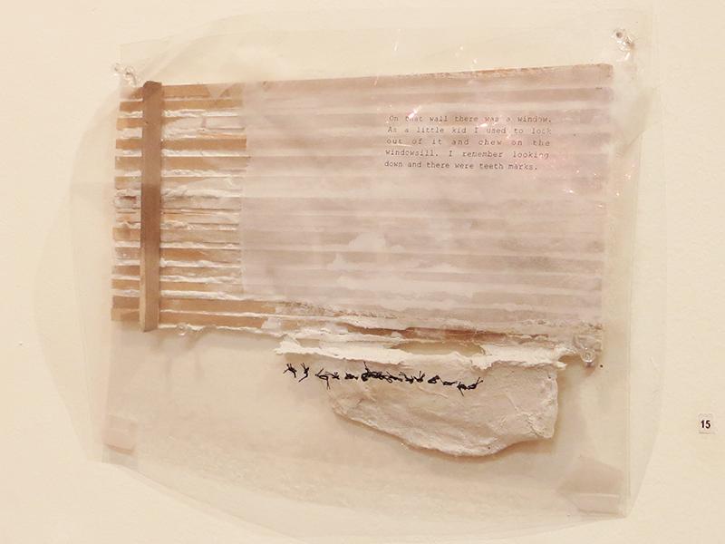 """181 Morningside Ave."" acrylic, fabric, thread, chewed mylar and plaster on wood, 9"" x 12"" $240.00"