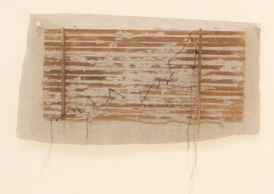"""538 B 6th Ave."" acrylic, fabric, thread, mesh and plaster on wood, 9"" x 14"" $240.00"