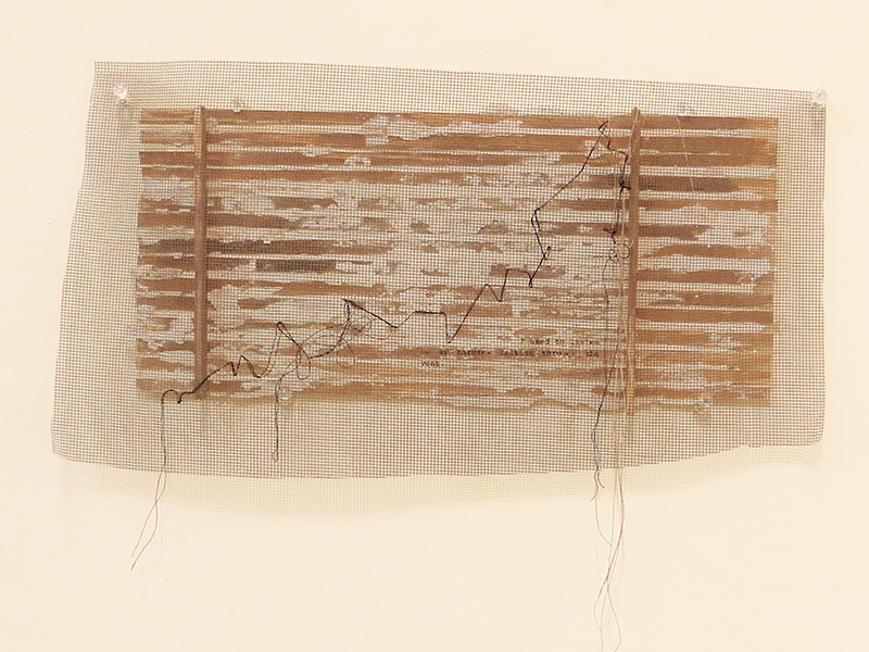 """""""538 B 6th Ave."""" acrylic, fabric, thread, mesh and plaster on wood, 9"""" x 14"""" $240.00"""