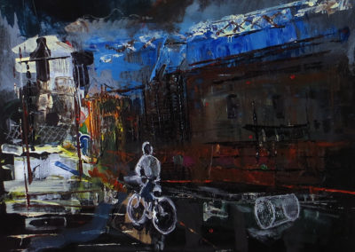 """Industrial Bike Ride""  acrylic on hardboard SOLD"