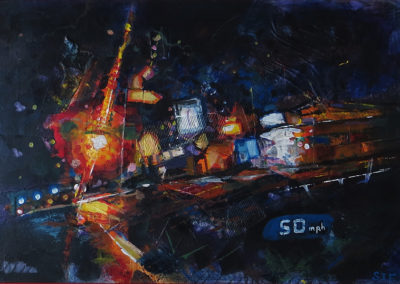 """""""Drive By at 50 MPH""""   mixed media, acrylic, collage and crayon,  24″ x 36″ $300.00"""
