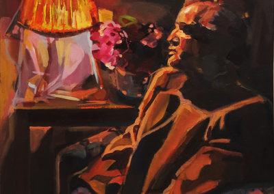"""""""The Minotaur Paused – Paul""""  acrylic on canvas, 32″ x 28″  $300.00"""