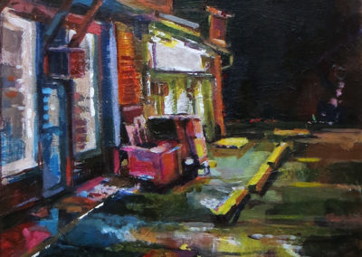 """""""My Favorite Parking Lot"""" acrylic on wood,  18″ x 18″ $225.00"""