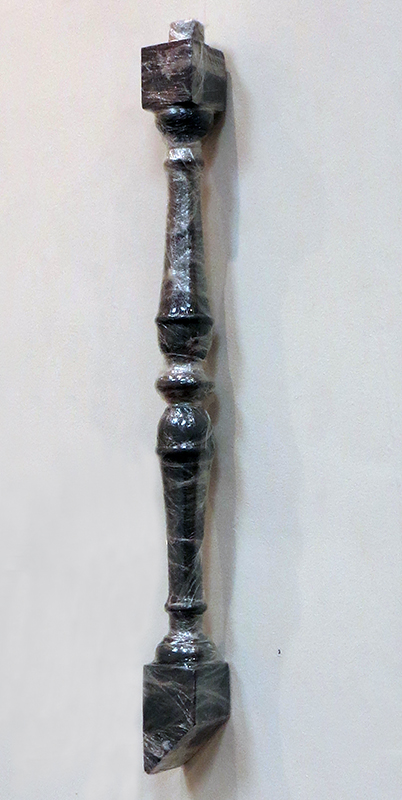 """""""Spindle""""   spindle painted gray wrapped in plastic, 2.5"""" x 2.5"""" x 28""""  $160.00"""