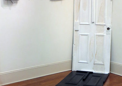 """Split""   wallpaper and acrylic on wood, 32"" x 80"" x 80"" $500.00"