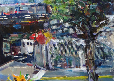 """""""Underpass""""   mixed media, acrylic, collage and crayon SOLD"""