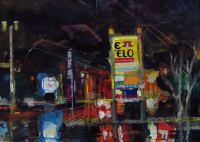 """""""Wet Night On 27"""" mixed media, acrylic and crayon SOLD"""