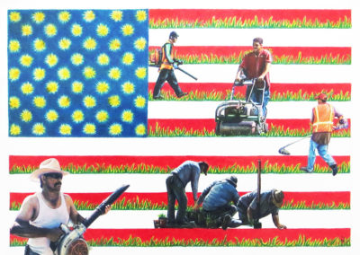 "Joan Sonnenfeld ""Lawn Service"" collage and colored pencil on paper"