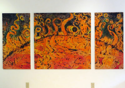 "Brian McCormack   ""The Sun Swallowing The Earth and Moon""  scorched wood and paint"