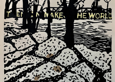 "Chee Bravo ""The Delaware at Trenton IV"" Lino print with collage"