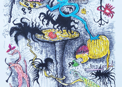 "Richard Gessner ""Feral Donut Boy with Wanton Mushroom Fauna"" hand colored print with pilot pen and sharpie"