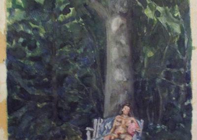 "Peter Arakawa ""Figure in Wood"" watercolor on paper,"