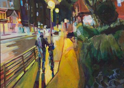 """Steven Epstein """"Man Walking Bike"""" acrylic – SOLD"""