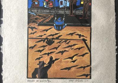 "Walt Nygard   ""Heaven on Earth""  linocut with block ink on handmade Frontline paper"