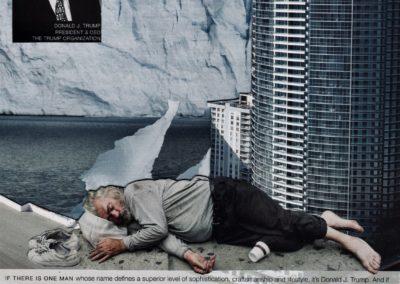 "Luis Alves: Collage ""Trump Hollywood"" handmade collage"