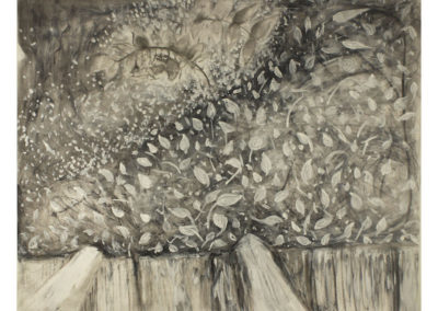 """Shannon DeAngelis  """"View of the Garden""""  charcoal and acrylic paint on paper"""