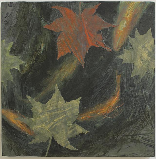 "Michael Williamson ""Leaves Water Koi"" acrylic mixed media"