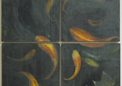 "Michael Williamson ""Quad Fish Swirling"" acrylic mixed media"