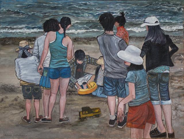 "Michele Guttenberg ""Midland Beach, S.I.""  oil on canvas"