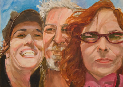 """Michele Guttenberg """"Neil, Michele and Pam in San Francisco""""  oil on canvas"""