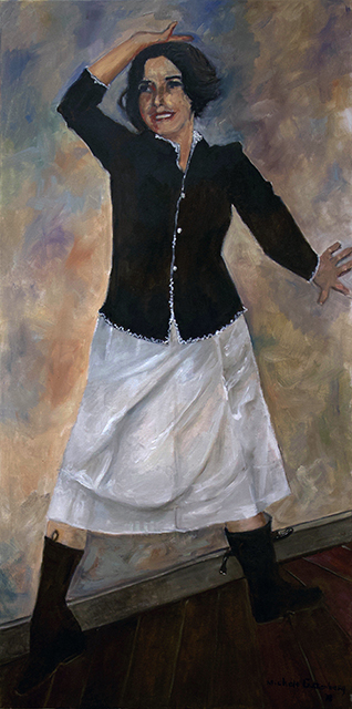 """Michele Guttenberg """"Pam in Black and White""""  oil on canvas"""