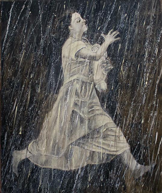 "Michele Guttenberg ""Running in the Rain""  oil on canvas"