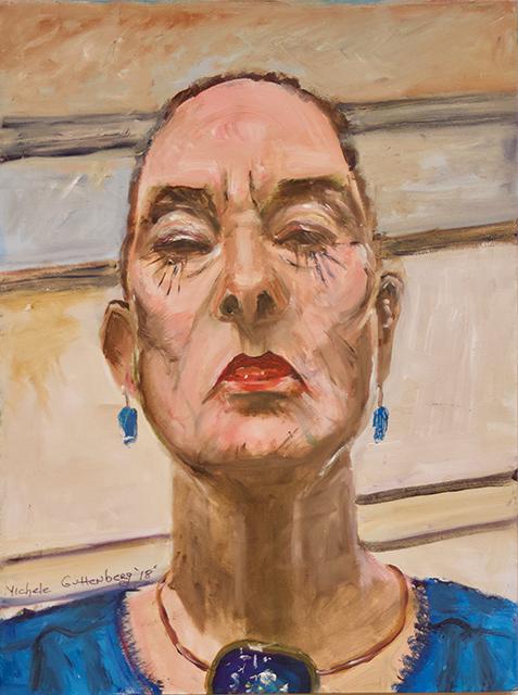 """Michele Guttenberg """"Self Portrait""""  oil on wood"""