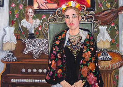 "Michele Guttenberg ""Michele as ""Frida"" acrylic on canvas"