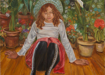 """Michele Guttenberg """"Sarah with Hat""""   oil on canvas"""