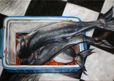 "Neil Besignano ""Bela's Catch"" oil on canvas"