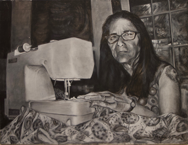 """Neil Besignano """"Michele at the Machine"""" oil on canvas – SOLD"""