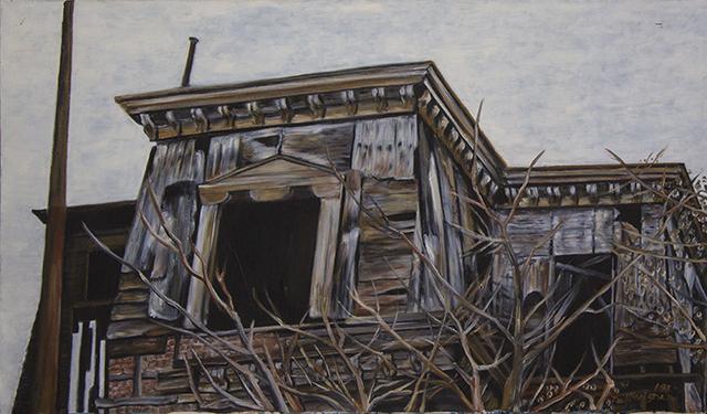 "Neil Besignano ""Town Hall, New Brighton, S.I., Demolished"" oil on canvas"