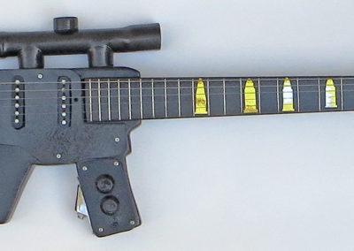 Assault Rifle Electric Guitar – laminated hardwood, , pine dowel, electric guitar neck, guitar parts, paint