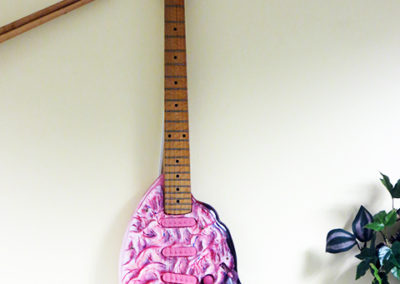 Pick Your Brain – customized found electric guitar, sculpy brain appliqué, paint – NFS