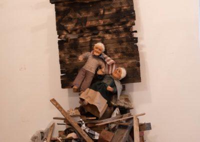 "Robert Richardson  – ""Displaced"", mixed media installation, 7ft. H x 3ft W x 3ft. D, 2020"
