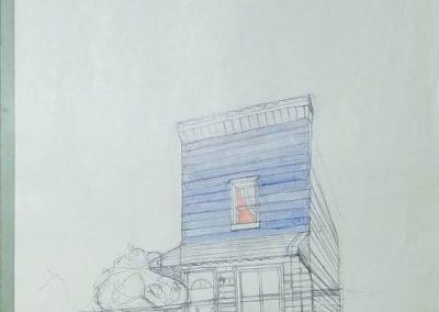 "Katie Knoeringer –  ""Martha Dear One"", acrylic and pencil on found folder, 42"" x 31"", 2018"