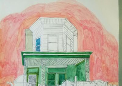 "Katie Knoeringer – ""Saint Patrick"", acrylic and pencil on found folder, 42"" x 31"", 2018"