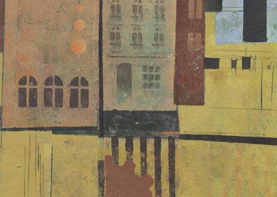 """Deirdre Sheean  – """"City Grind"""" acrylic, 13"""" x 10.5"""" , 2019,"""