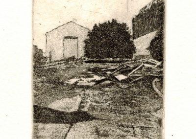 "Jennifer Manzella ""Pile near Second and Oxford"" copper etching, 9"" x 9"", 2019"