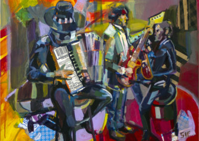 """The Band Played On"" 24″ x 30″ mixed media on cradleboard"