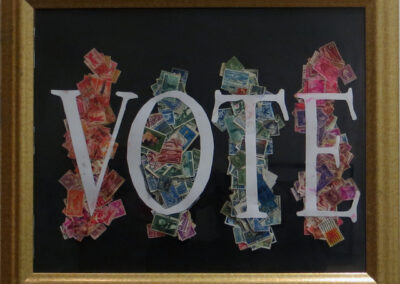 """John Marron """"VOTE Rainbow Collage"""", collage with postage stamps, $40.00"""
