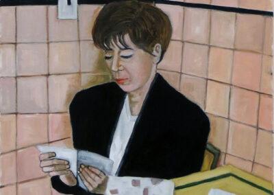 """Michele Guttenberg """"Reading Loveletter"""" oil on canvas, $100.00"""