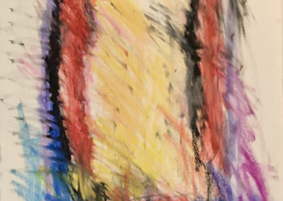 "Barbara Dirnbach  ""Woman on Paper"", Crayon/oil pastel on paper. 12 X 30/framed under glass, 2020, $450.00"