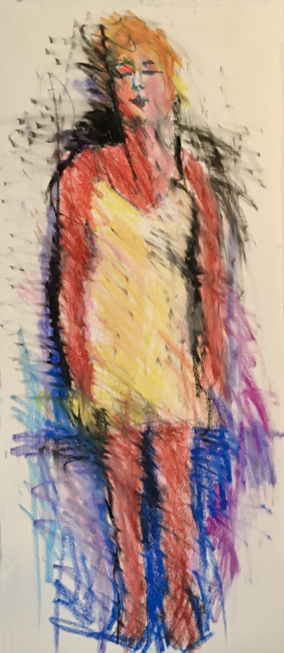 """Barbara Dirnbach  """"Woman on Paper"""", Crayon/oil pastel on paper. 12 X 30/framed under glass, 2020, $450.00"""