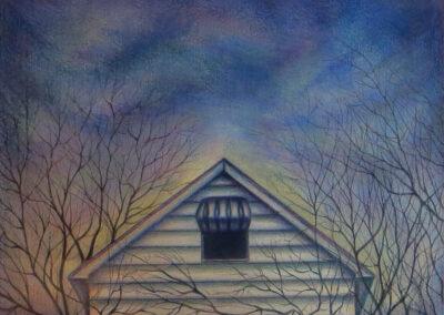 "Joan Sonnenfeld  ""Forsaken"", colored pencil on paper, 16 1/2""W  x 13 1/2"" H 2020, $150.00"