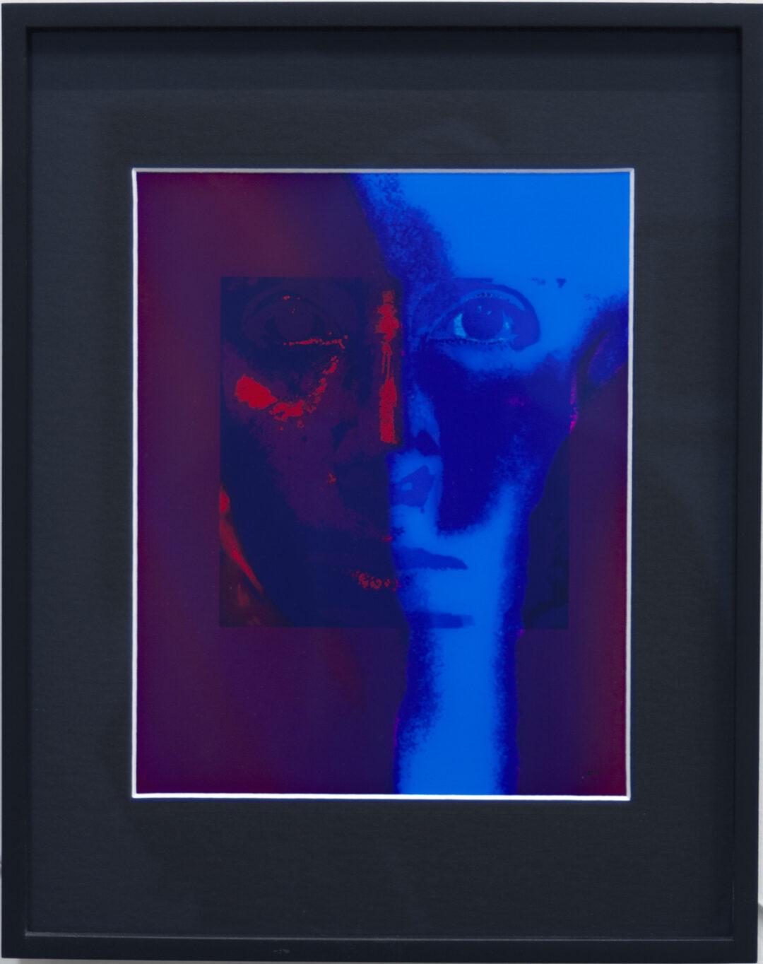 "Larry McCandlish ""Unmasked"" mixed media light Sculpture, Inkjet Die on paper, Wood, Glass, Custom Electronics, and Light 11 1/2"" W x 14 3/8""H, 2021, NFS"